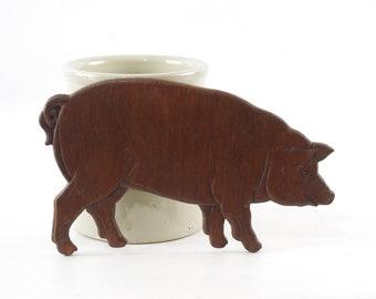 Wooden Pig Cutout, Country Kitchen Decor, Vintage Pig Silhouette, Folk Art Pig Plaque