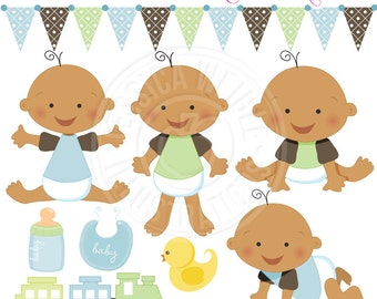 Baby Boy V2 Cute Digital Clipart for Card Design, Scrapbooking, and Web Design, Baby Graphics