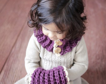CROCHET PATTERN Cowl and Muff The VIOLET Girl Toddler Christmas From the Danica Collection 2 sizes,
