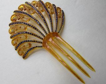 Vintage Hair Comb 1920 Hair Comb 1930 Hair Comb Honey Tone Celluloid Cobalt Blue Rhinestones Hair Accessories Flapper Style