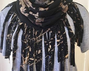 Black Fringed Infinity Scarf, Techtonic Leaves Print