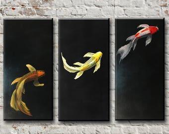Koi fish painting Koi fish art Koi fish decor Koi painting Koi gift Carp painting Japan fish Japanese Koi Japan Art Room decor Fish wall art
