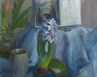 Blue hyacinth oil painting wall still life flower