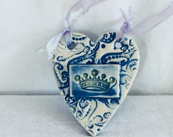 Ceramic Heart Wall Hanger with Crown