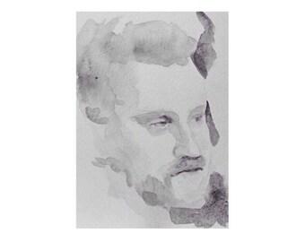 Head - 5.5 x 7, graphite/wash on paper
