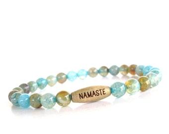 Namaste Mala Bracelet Yoga Jewelry Dragon Veins Spiritual Healing Namaste Etsy Unique Gift for Her Mothers Day Valentines Under 20 Item Y32