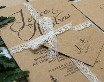 SAMPLE PACK Woodland Brown Kraft and Lace Wedding Invitations