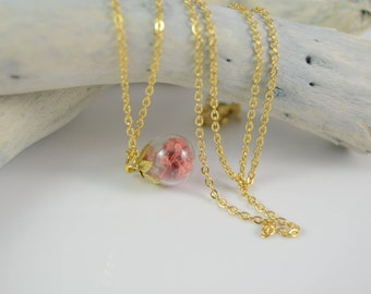 Dried Flower Necklace, Pressed Flower Necklace, Real Dried Flower Necklace, Bridesmaid gift, Delicate necklace, Glass Globe Necklace