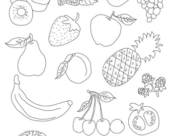 Set of Fruits - Art Outlines Full Page 16 Original Hand Drawn Outline Illustrations