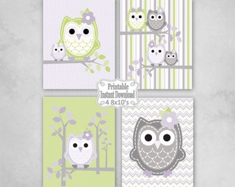 Printable Owls Baby Nursery Wall Art Decor in Lavender Green Grey Owls Baby Child Kids ~ DIY Instant Download ~ 4 8x10 Prints