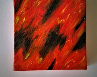 3 X 3 Orange and Black Abstract Painting