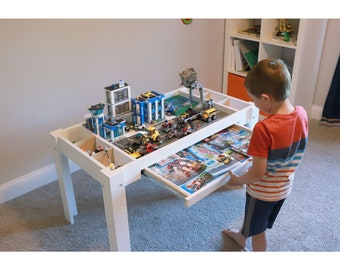 Customizable Lego Table With Drawer and Dividers