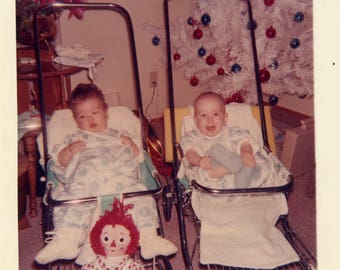 vintage photo 1964 Twins Christmas Kimberley and Kerry in Strollers Xmas Tree Color Snapshot
