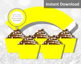Solid Yellow Cupcake Wrapper Instant Download, Party Decorations