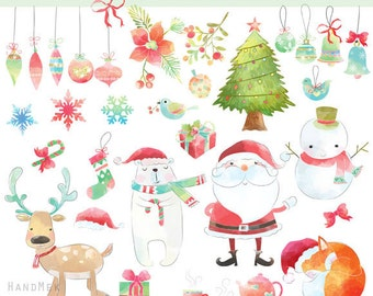 Christmas water color ,Christmas Clipart Instant Download,PNG file - 300 dpi