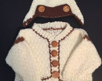 Baby Boy Sweater with Aviator Hat