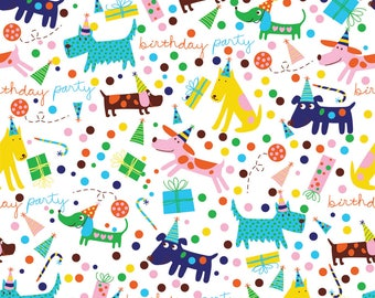 Dog Birthday Wrapping Paper| 2 feet x 10 feet| Gift Wrapping Paper| Dog Gift| Dog Lover| Dog print| Dog Birthday| Dog birthday Party
