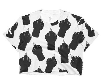 Cat Middle Finger (Paw) Crop Top