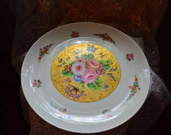 Limoges France Gold and Roses large Decorative Plate paper stamp