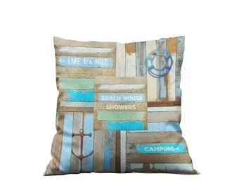 Beach Theme Throw Pillow , Rustic Sign Faux Wood