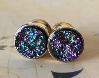 Purple and Green Druzy Plugs, gauges  6g, 4g, 2g, 0g, 00g