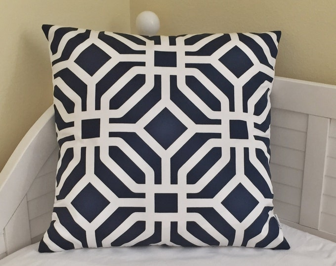 Quadrille China Seas Labyrinth  Indoor/Outdoor Navy and White Designer Pillow Cover