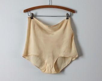 1940s silk French knickers, vintage cream silk knickers, vintage silk lingerie