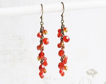 Long Orange Earrings, Orange Dangle Earrings on Antiqued Brass Hooks, Beaded Jewelry