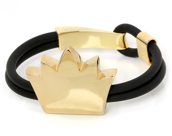 crown sterling silver gold plated bracelet with rubber cord, gift idea for woman, big crown, vanitas, rubber bracelet,