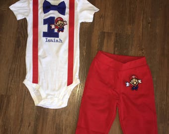 Mario Brother Inspired Birthday Outfit with Pants