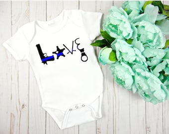 Police Baby Outfit - Thin Blue Line Baby outfit - Thin Blue Line Love - Law Enforcement Gift - Police Baby Outfit - Deputy Outfit - Bodysuit