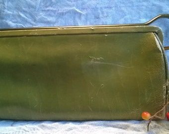 Classic Clutch Purse Distressed Leather Olive Green