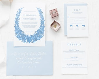 Laurel Wedding Invitation | Invitation suite Dusty Blue Wedding Invitation Blue White Wedding Invitation Suite French blue and white invite