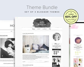 Blog Theme Bundle — 60% OFF — Set of 3 Watercolor Blog Templates — Blogger Theme Bundle — Sophisticated Blog Design — Template Bundle — Sale