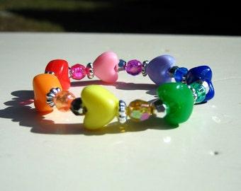 Birthday Party Favor/Craft: Rainbow Heart Station Bracelet Kits (QTY Discounts)