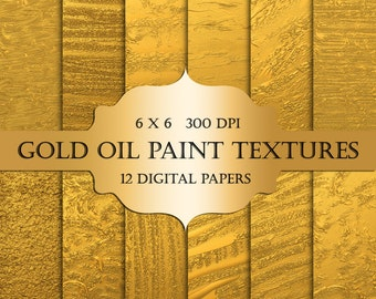 Gold Digital Paper - gold oil paint, scrapbooking digital paper, textured gold paint strokes, glitter backgrounds, gold paint, invitations