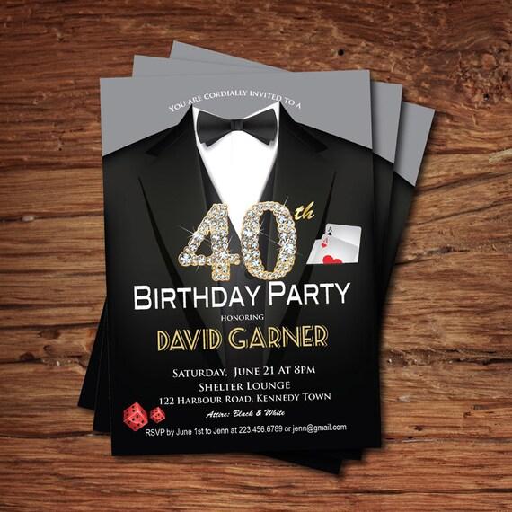 Casino 40th birthday invitation adult man birthday party filmwisefo
