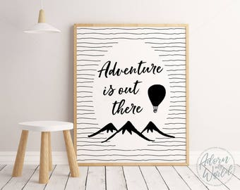 Adventure Print, Monochrome Kids Room, Adventure Is Out There, Monochrome Nursery, Scandinavian Nursery Art, Nursery Print, Nursery Poster