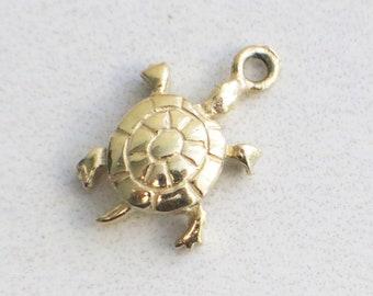 14K Gold Sea Turtle Charm Pendant