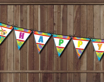 Art Party Birthday Banner - Paint Party Banner - Painting Birthday Pennant Banner - INSTANT Printable Paint Palette, Rainbow Party Artist