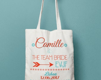 Personalized tote Bridal Party gift with text and arrow - Bridesmaids bag - Bridal tote bag Bachelorette