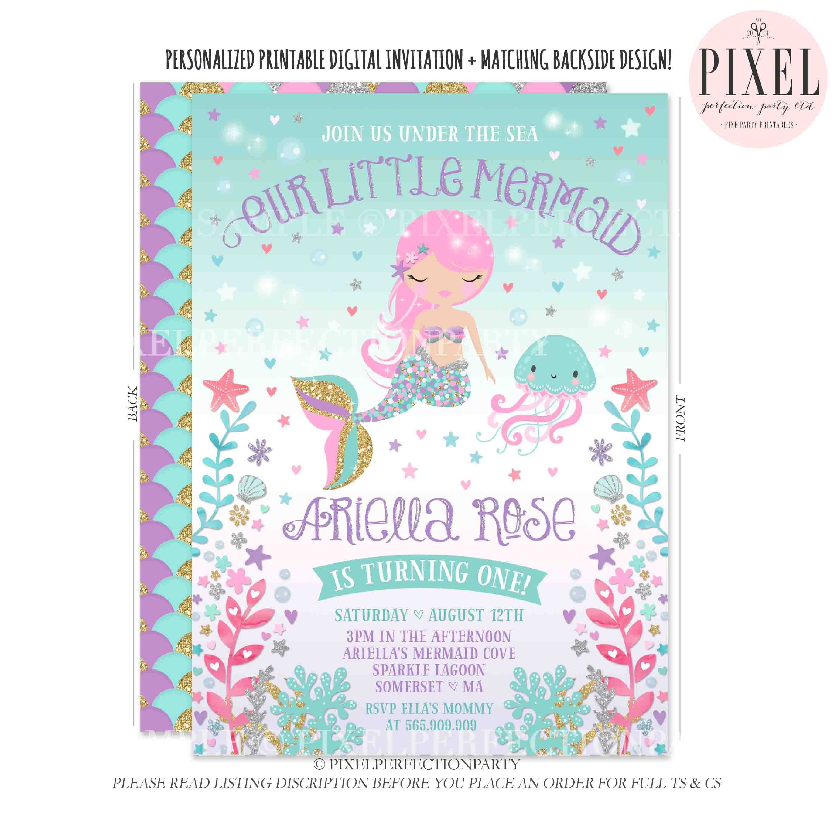 Mermaid Invitation Mermaid Birthday Invitation Under The Sea