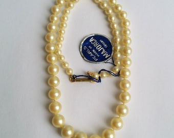 Amazing Vintage HOBE Gold Tone Patented Clasp MAJORCA Pearl Single Strand Necklace Hobé Majorca Pearls Majorca Pearls By Hobé NEW! Old Stock
