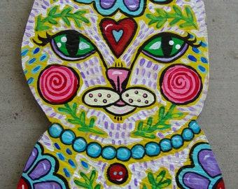 Original Folk Art Kitty Cat Plaque