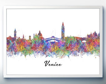Venice Skyline Watercolor Art Poster Print - Wall Decor - Watercolor Painting - Illustration -Home Decor-Office Decor - Kitchen Decor