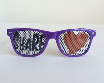 FUN party graphic wayfarer sunglasses, perforated lenses