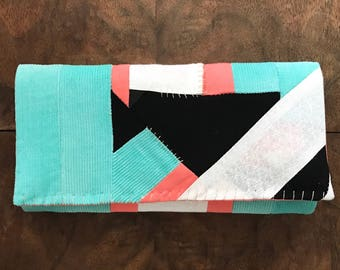 Aqua Corduroy, Coral, White, Black Cloth Patchwork Trifold Clutch Wallet