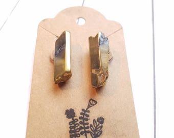 Gold Rock Quartz Earrings #21