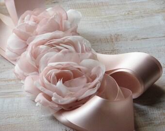 Blush ribbon sash Blush sash Blush ivory wedding sash Ivory blush sash Blush wedding dress Ivory blush dress Blush wedding Blush bridal belt