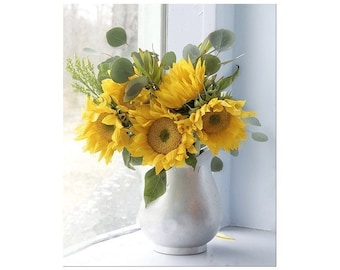Sunflower Art, Sunflower Print, Yellow Flower Still Life, Floral Art Print, Sunflower Decor, Flower Artwork, Still Life Art